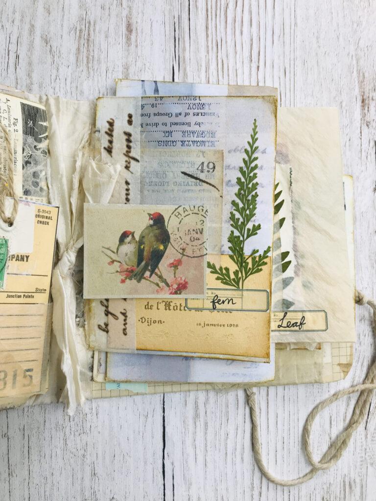 bird stamp ephemera journal page