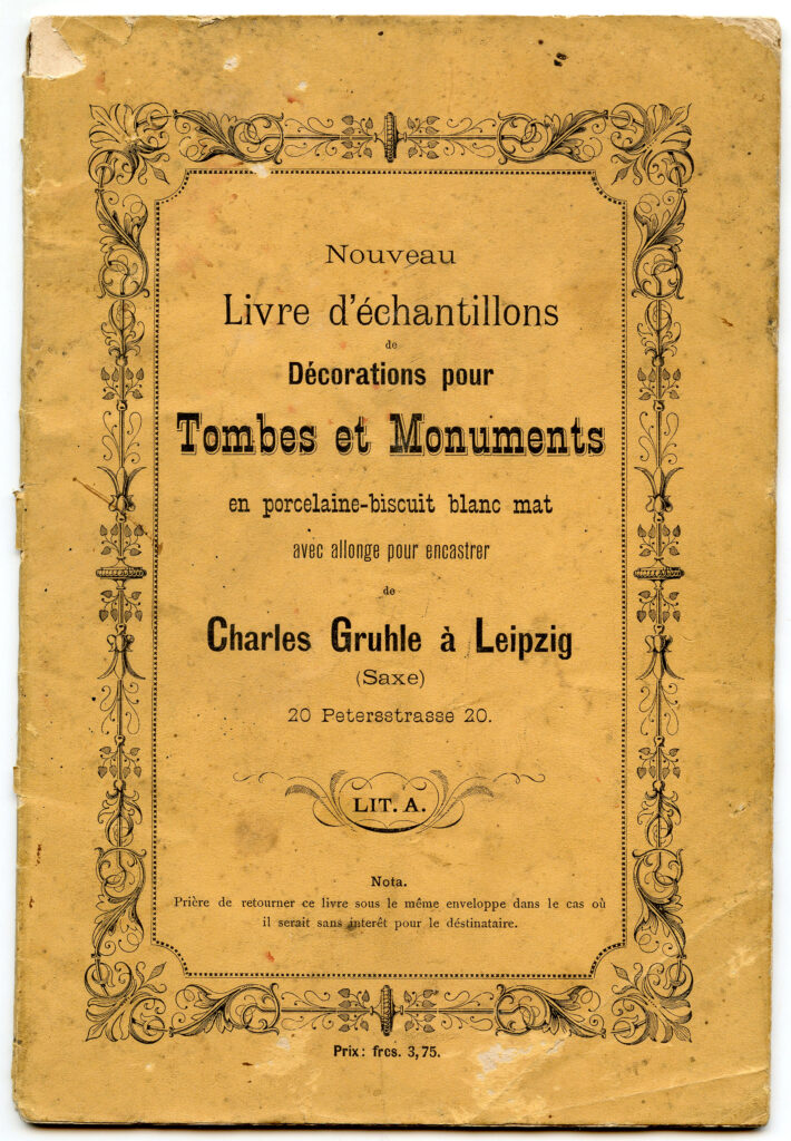 Tombes et Monuments vintage French tombstone catalog clipart