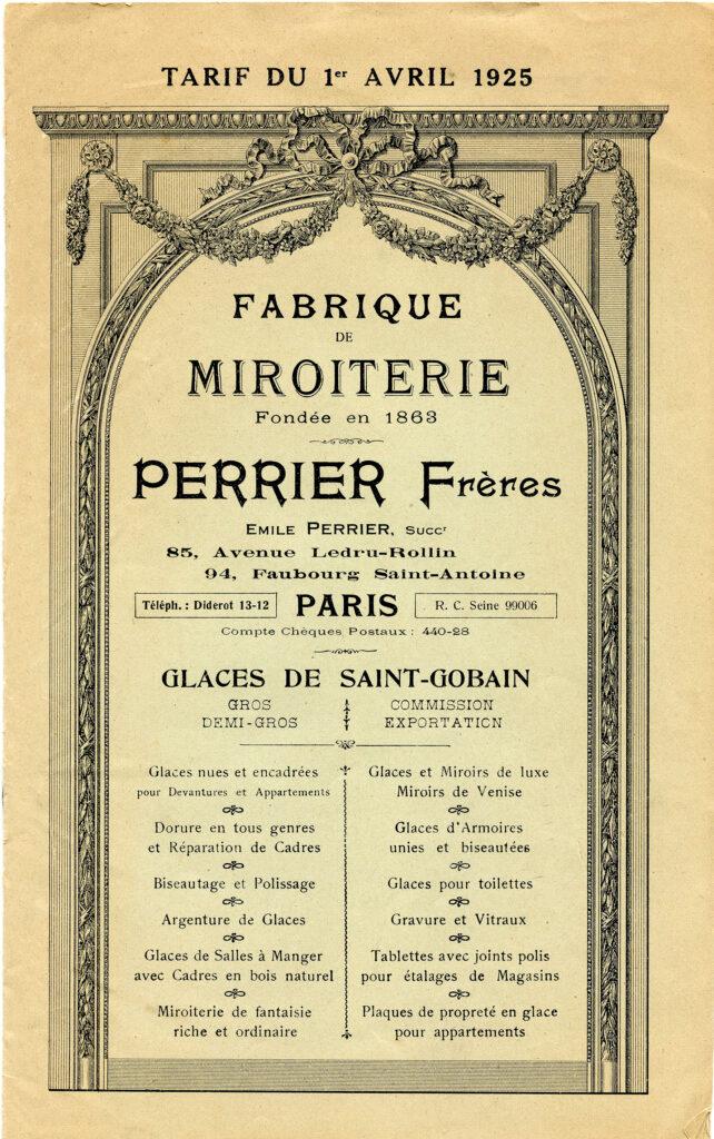 antique French mirror catalog illustration