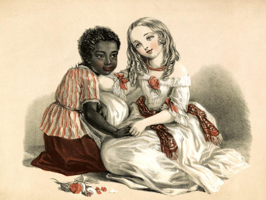 children girls flowers illustration