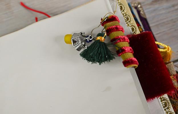 page tab tassel beads charms