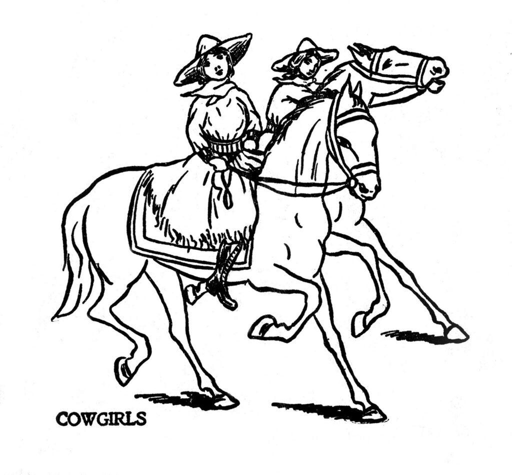 cowgirls horses horseback riding line drawing illustration
