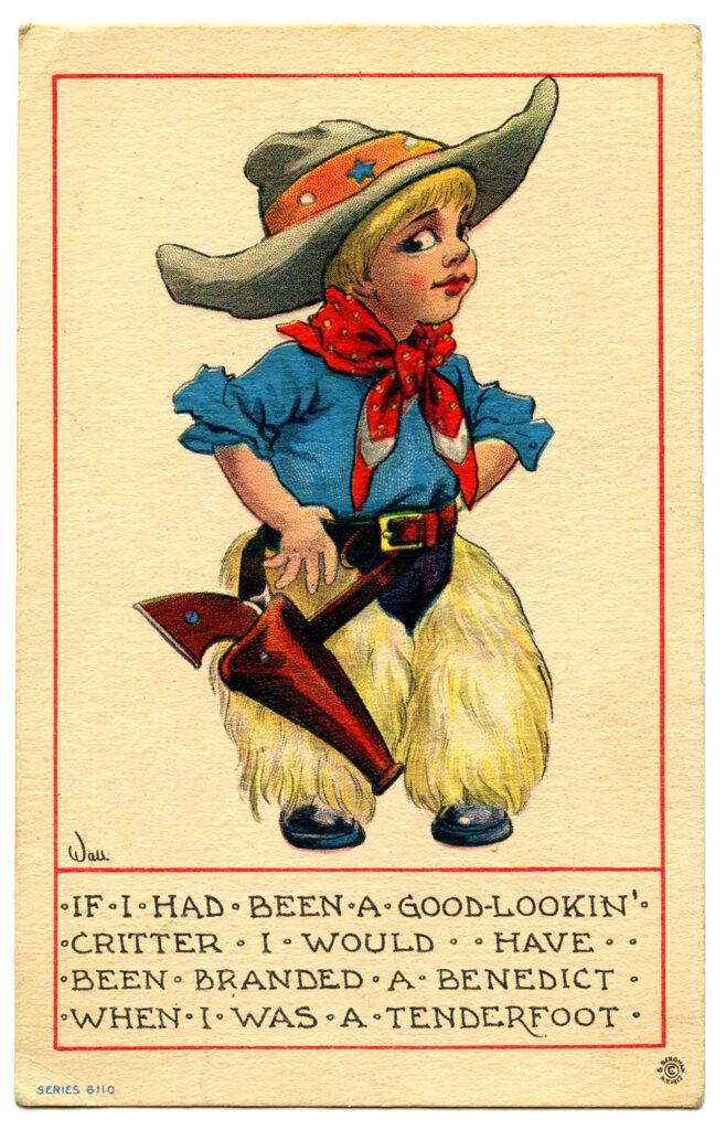 child cowboy holster gun hat vintage image