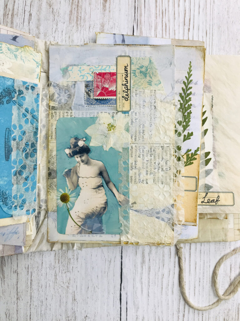 hand painted photograph journal page