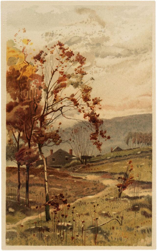 fall landscape house path field illustration
