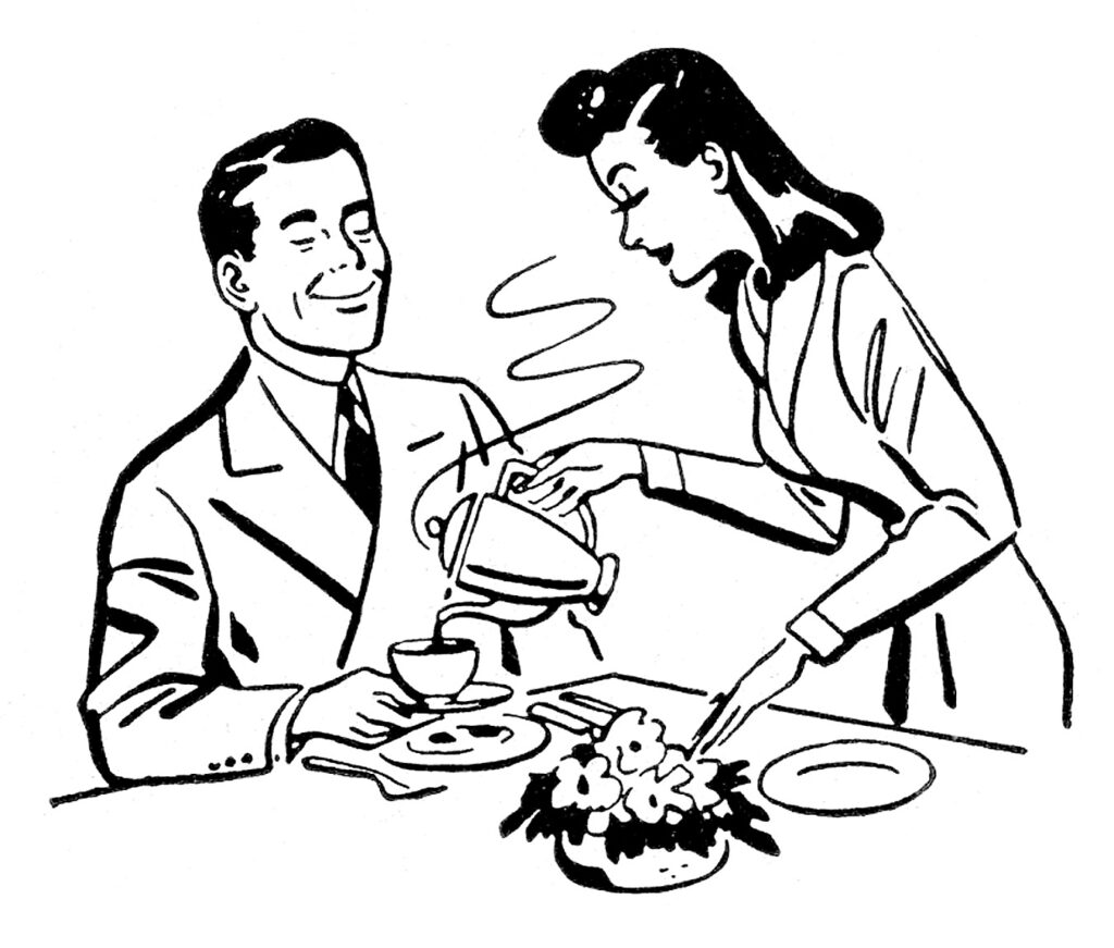 retro wife pouring coffee husband clipart