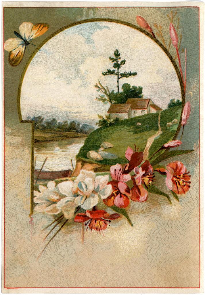 floral landscape cottage image