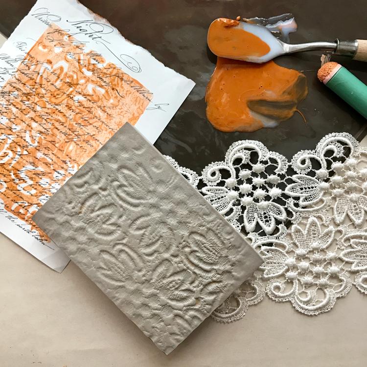 Stamping with Acrylic Glaze Medium