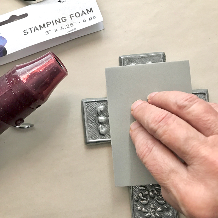 Foam Stamp Press into Textured Surface