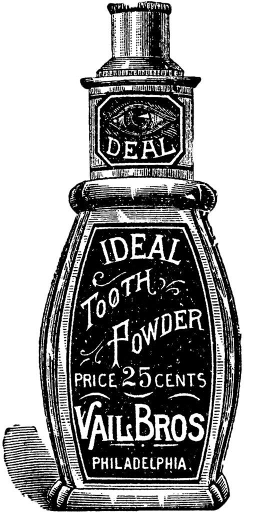 vintage tooth and dental powder bottle illustration