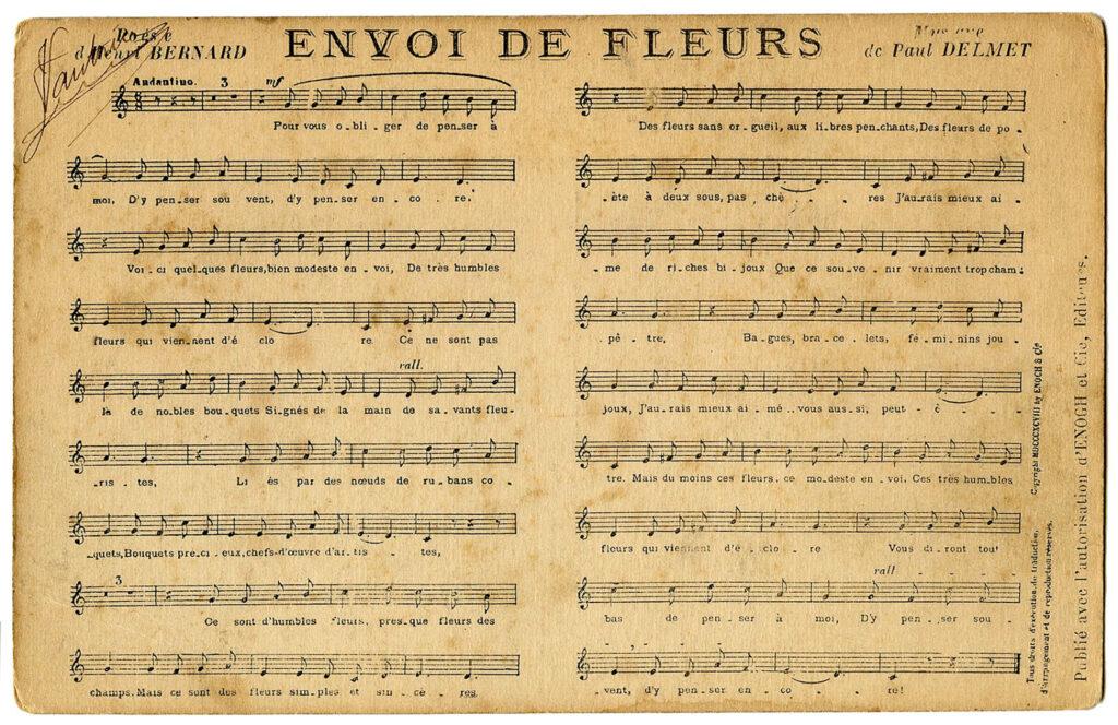 Envoi de Fleurs vintage sheet music illustration