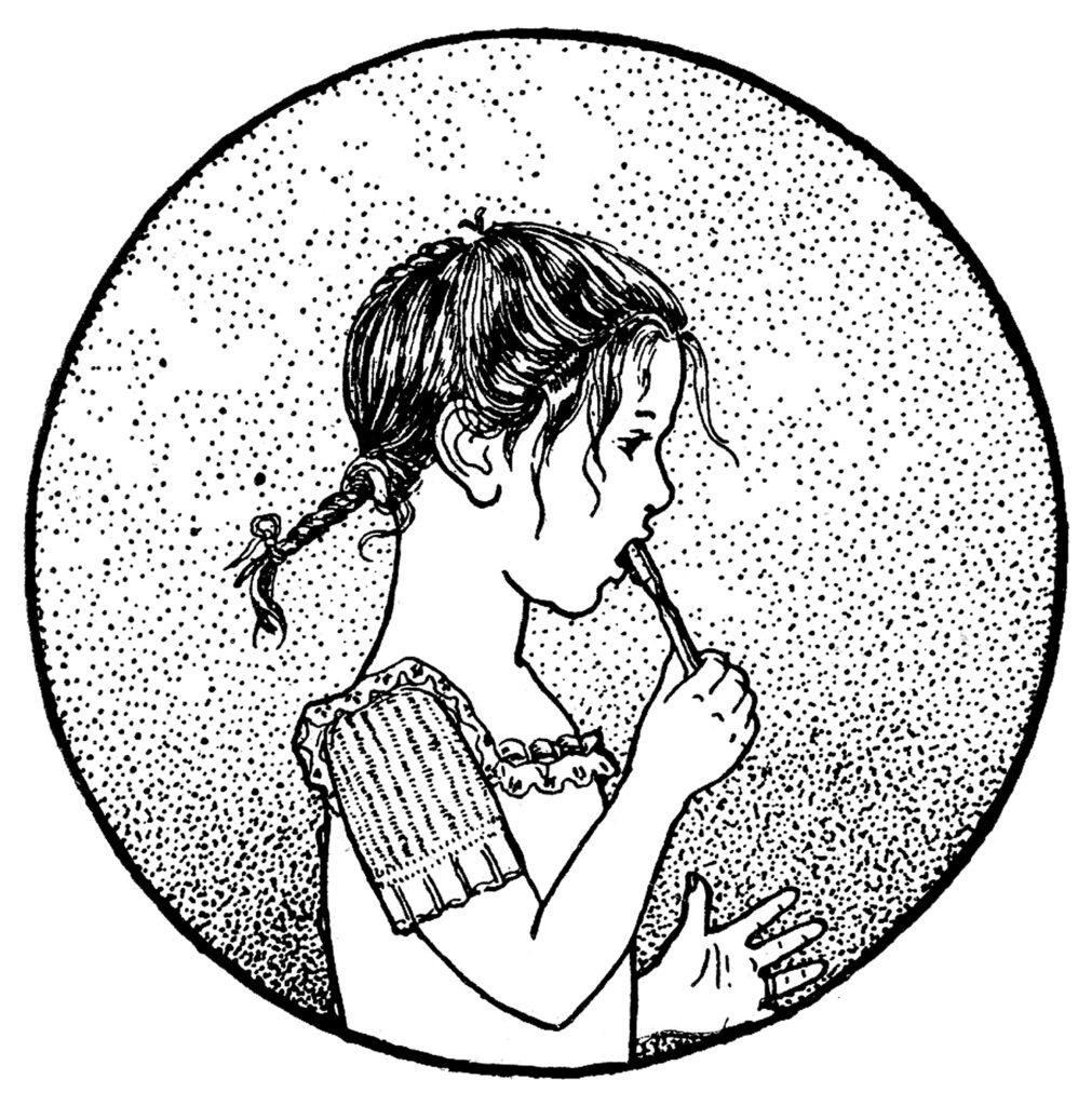 girl brushing teeth vintage illustration