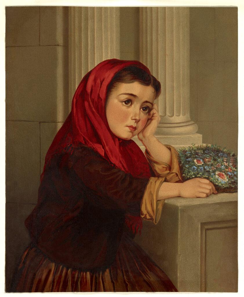girl red scarf fan flowers illustration
