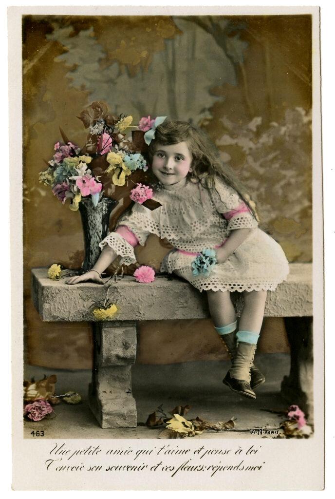 antique photograph girl bouquet image