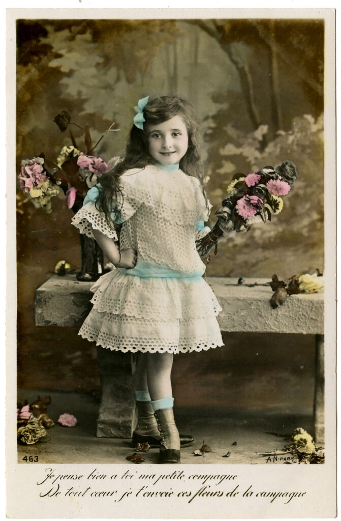 vintage photo girl with flowers image