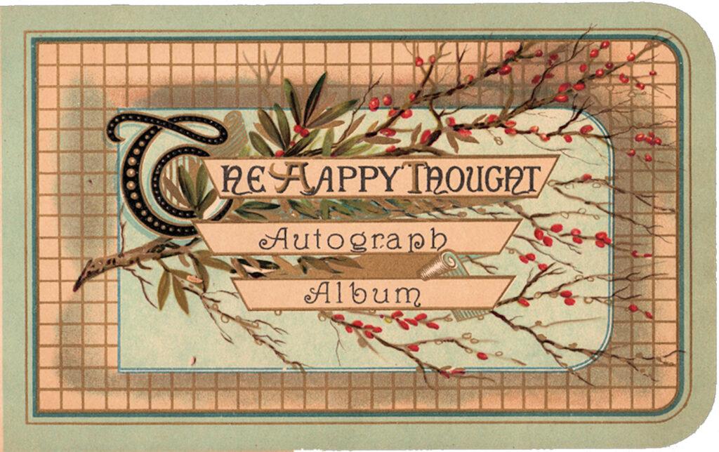 Happy Though autograph album vintage clipart