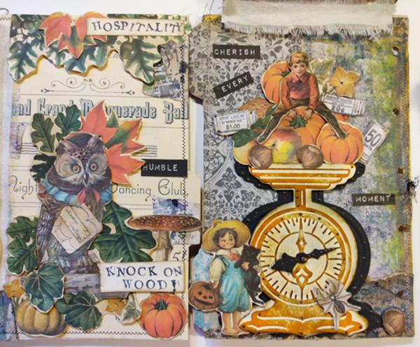 owl scale fall ephemera journal page