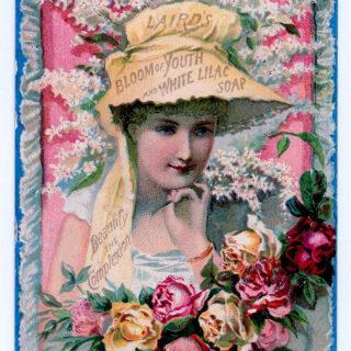 lady blooms bonnet soap illustration