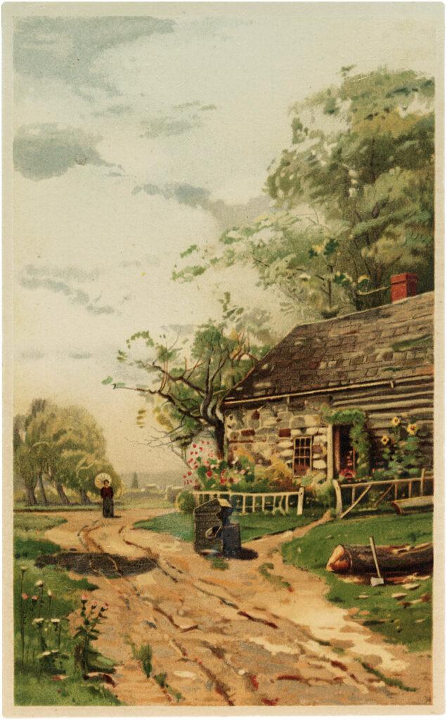 cottage landscape vintage illustration
