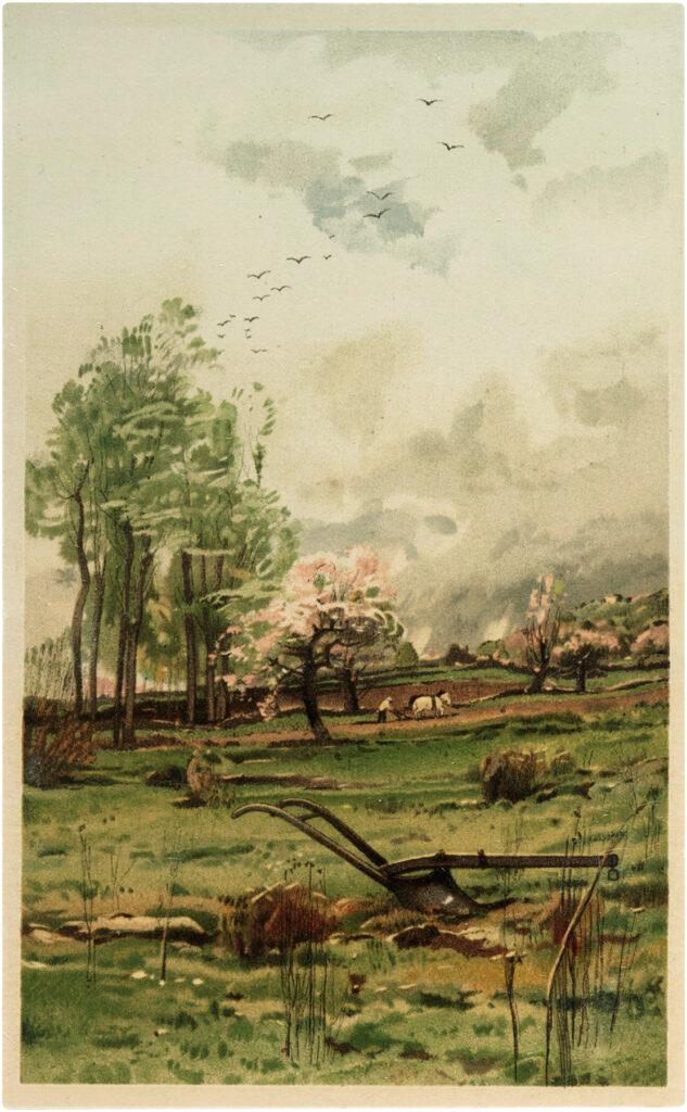 landscape farm vintage image