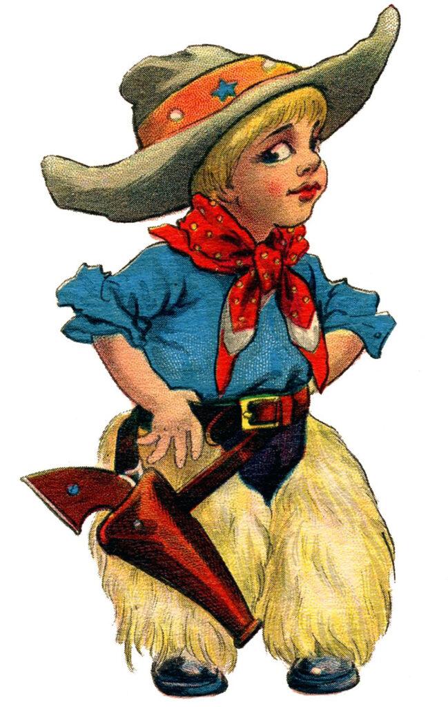 cowboy boy vintage clipart