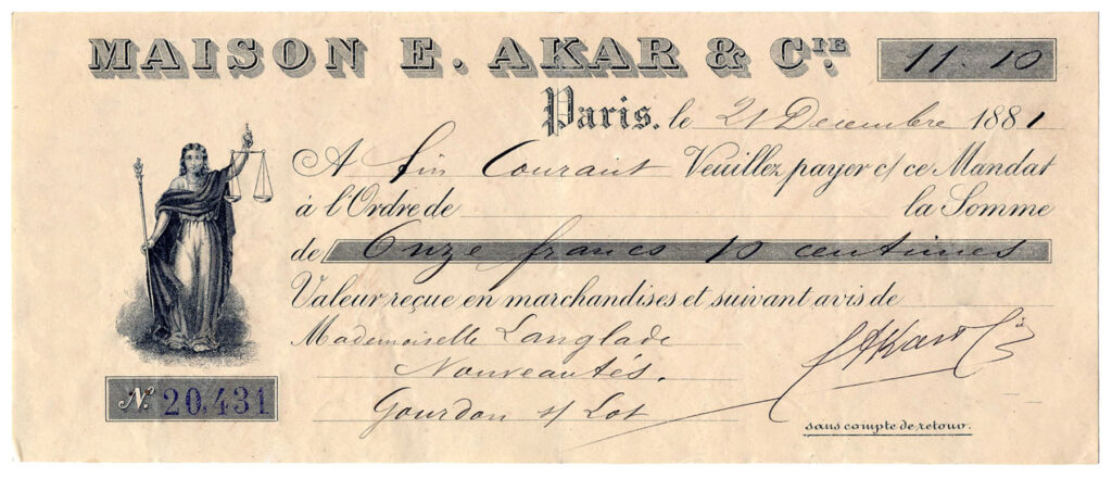 vintage Maison French Paris bank check cheque illustration
