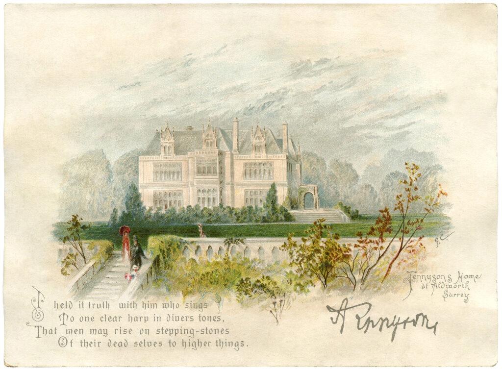 manor house summer landscape illustration
