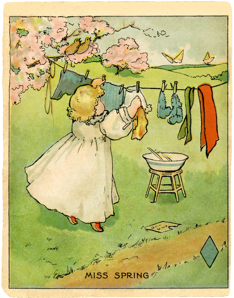 Miss Spring girl hanging laundry clothes line illustration