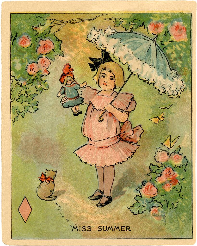 Miss Summer vintage girl flowers parasol illustration