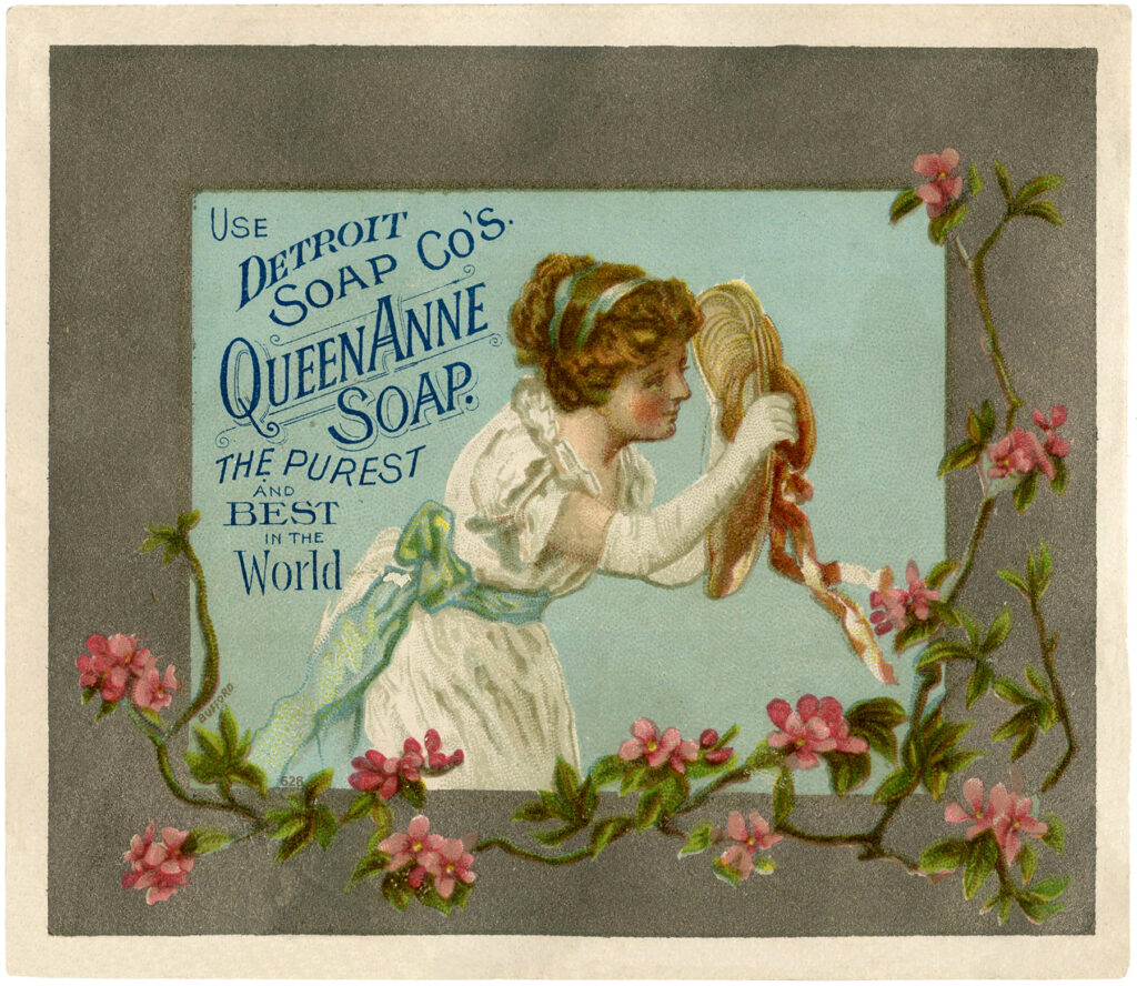 Victorian lady hat soap label image