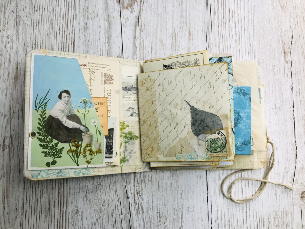 hand painted over photograph journal page
