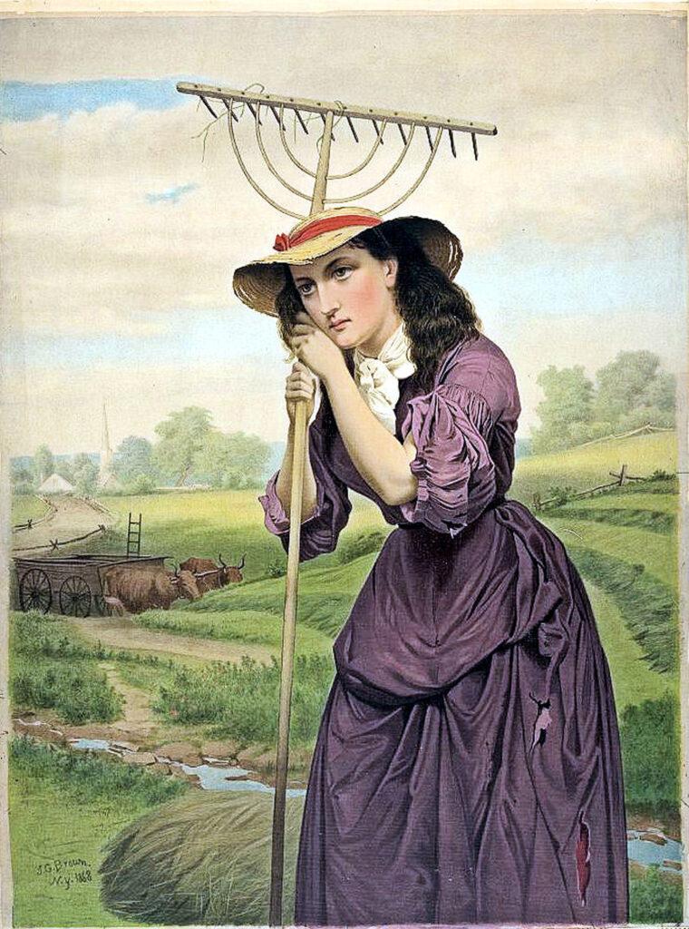 pretty gardener lady purple dress rake image