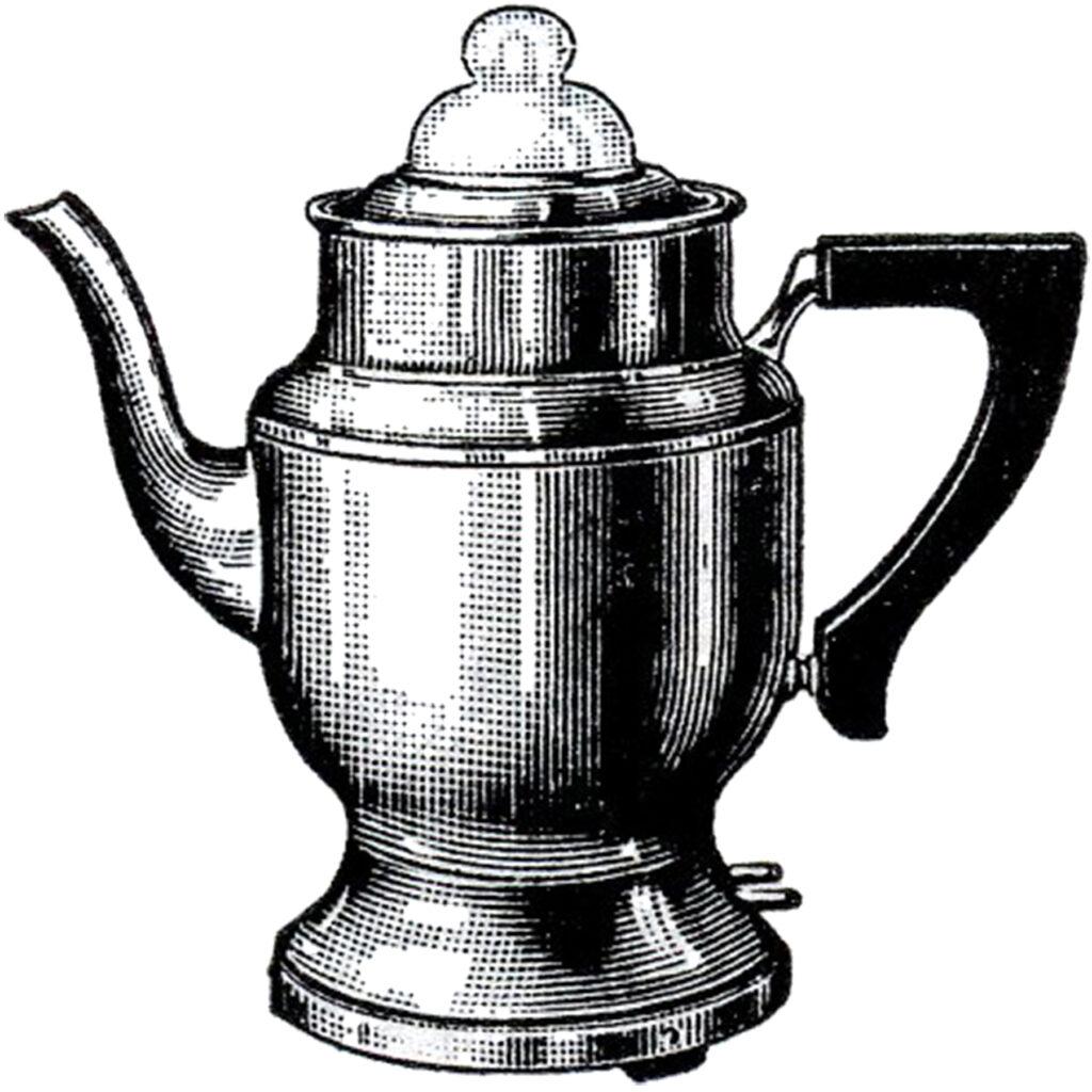 vintage electric coffee pot percolator illustration