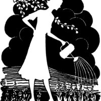 lady watering can plants silhouette image