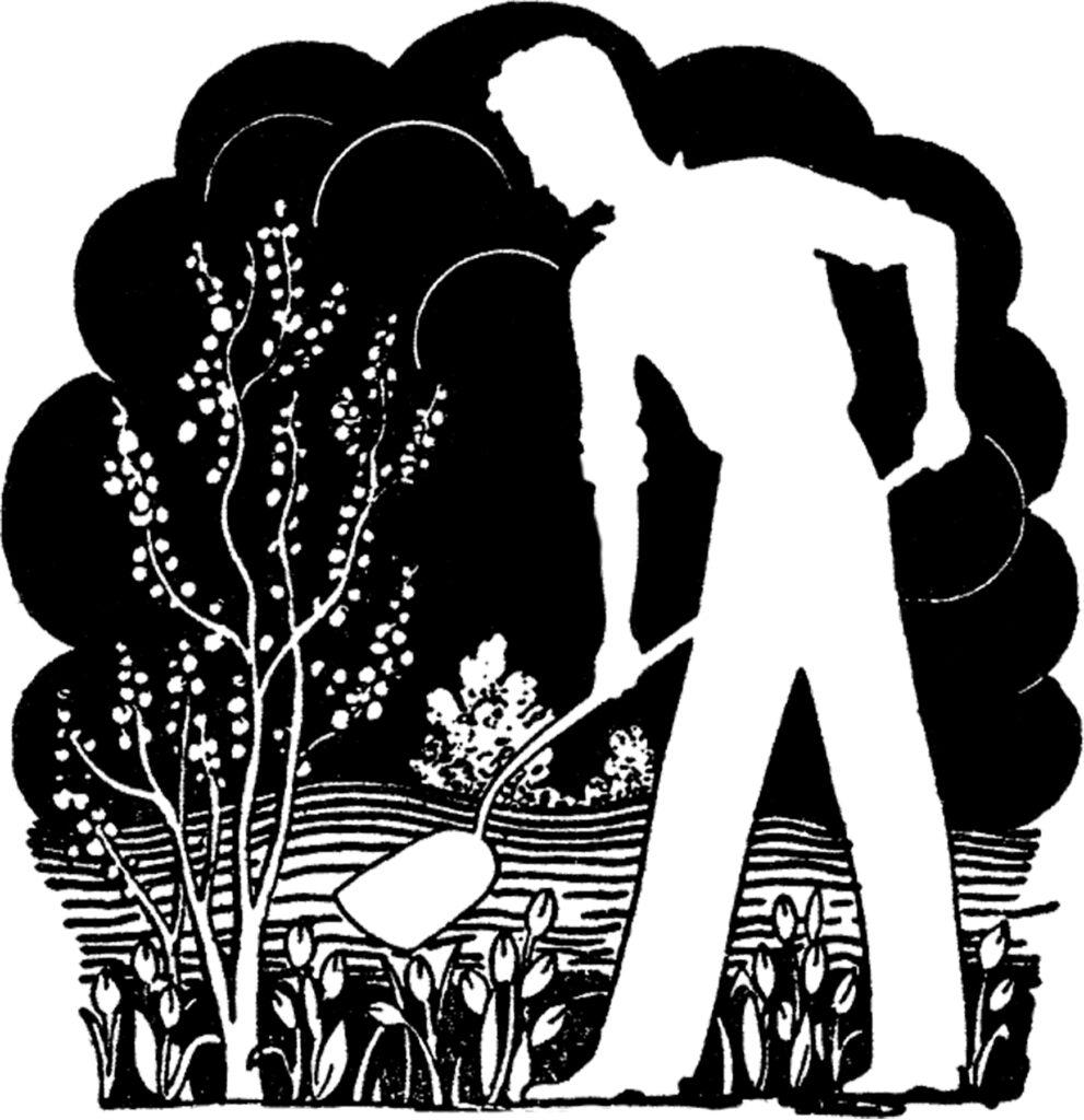 retro man gardening shovel image