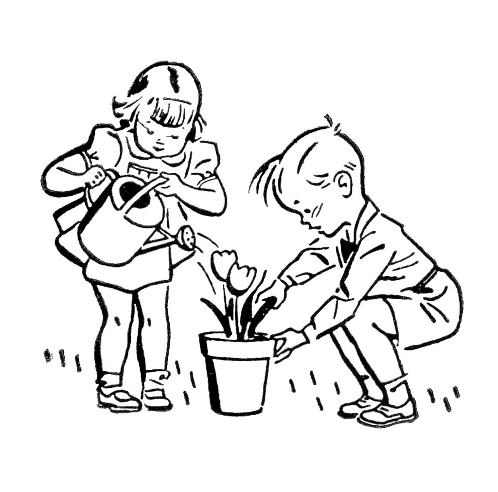 retro kids gardening watering can potted flower clipart