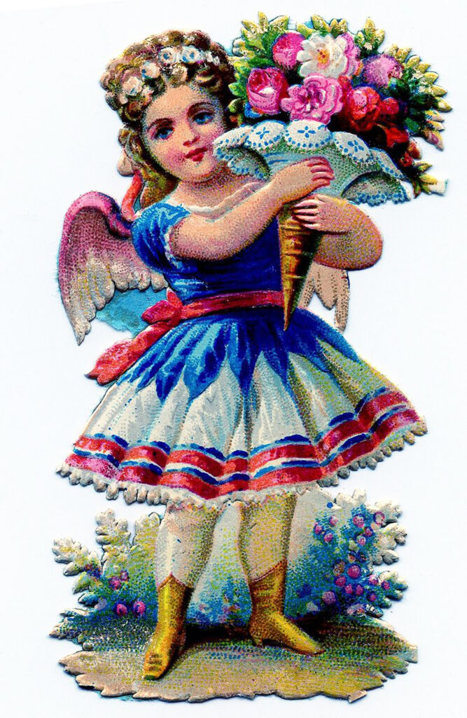 scrap girl fairy bouquet illustration