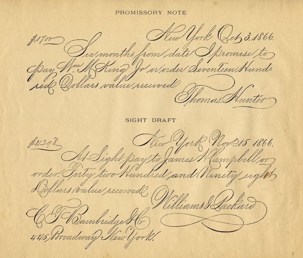 script handwriting vintage promissory note image