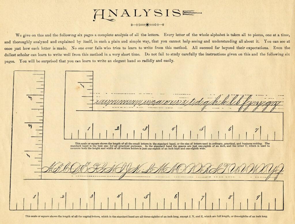 Spencerian script spacing analysis image