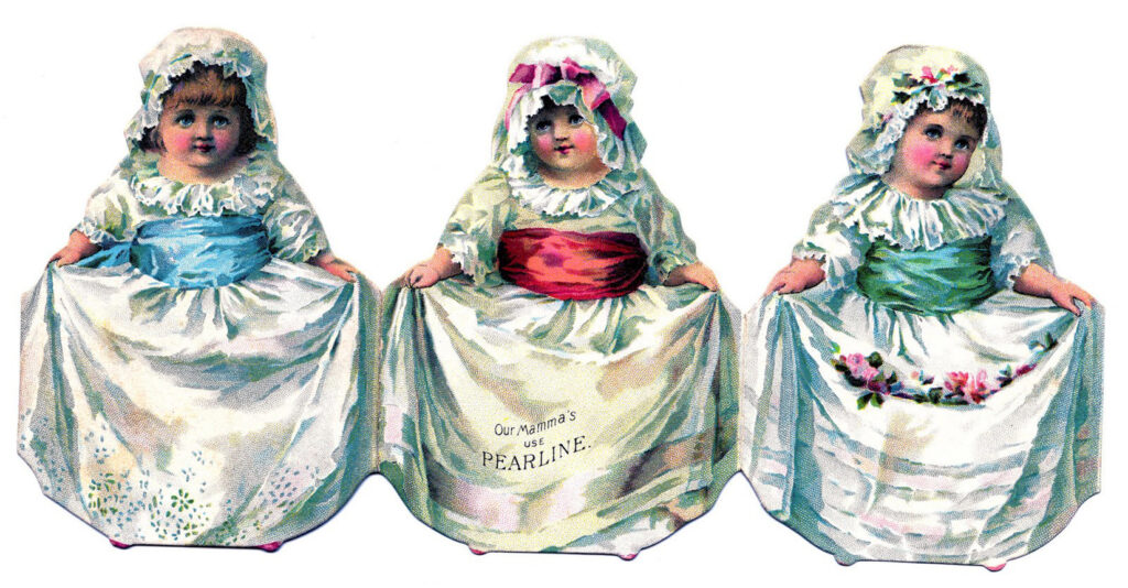 three girls flowers garland illustration