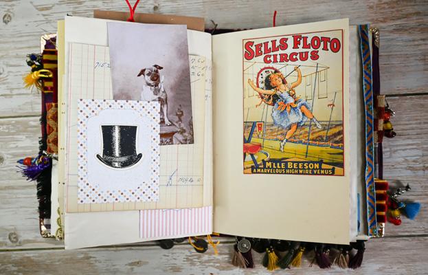 vintage circus top hat dog tight rope walker image