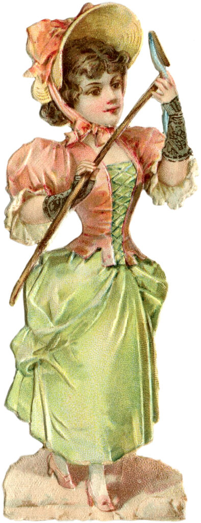 Victorian garden lady hoe clipart