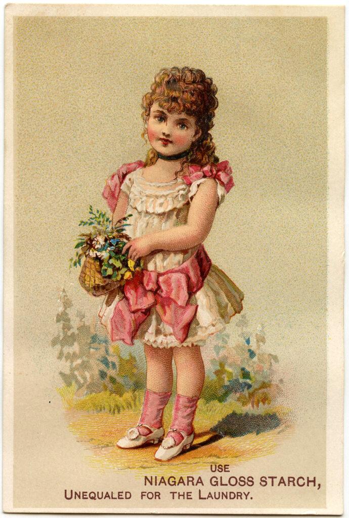girl basket flowers image