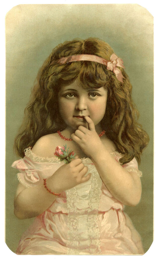 vintage beauty girl with flower image