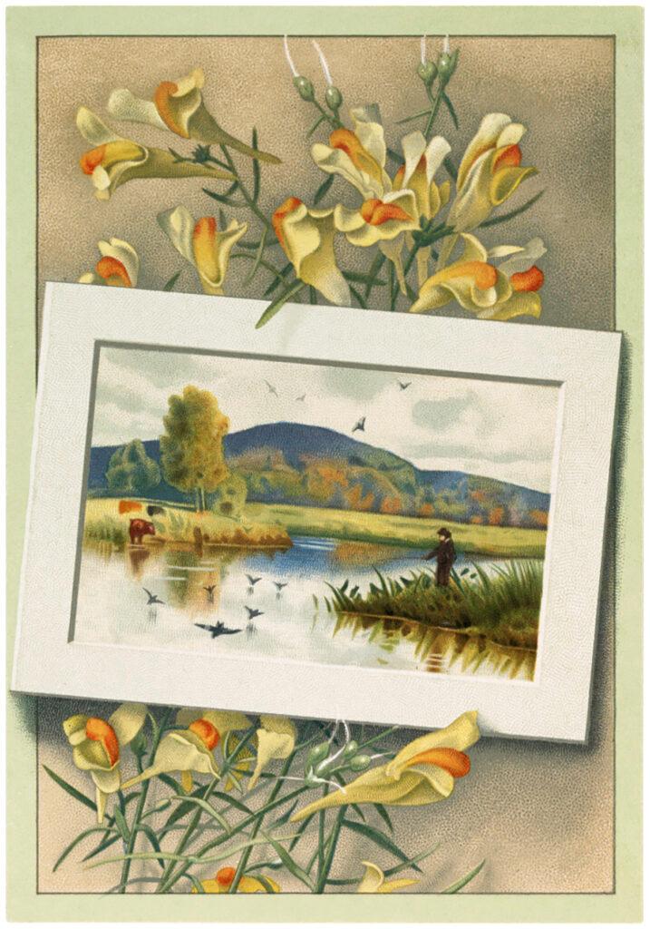 vintage floral landscape lake clipart
