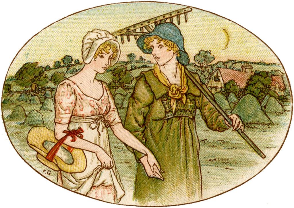 friends ladies gardening rake illustration