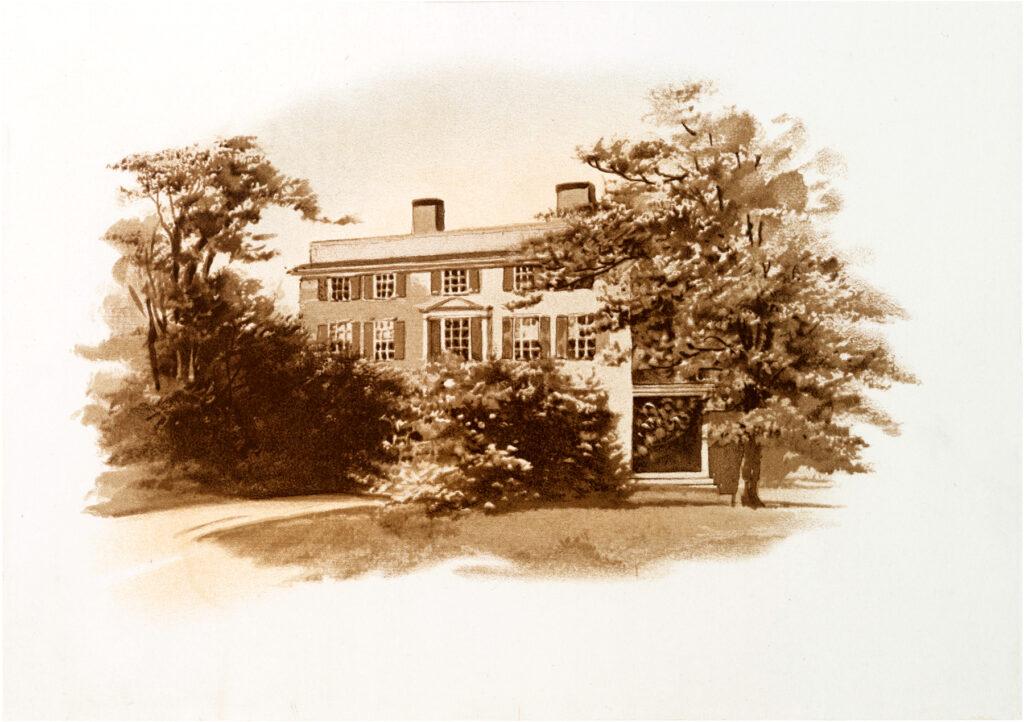 vintage illustration sketch house autumn image