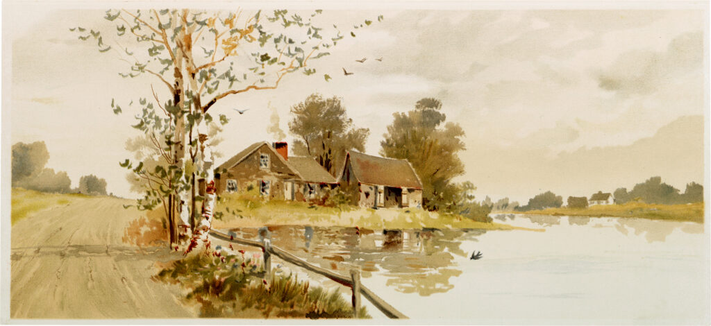 vintage lake house painting clipart