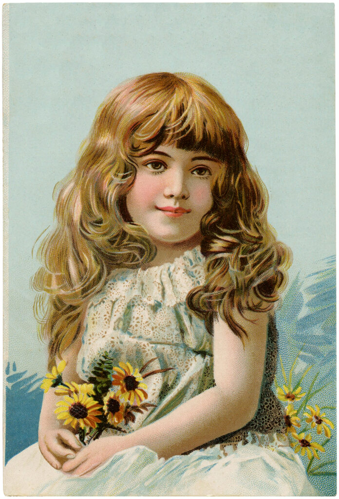 pretty girl bouquet flowers vintage image