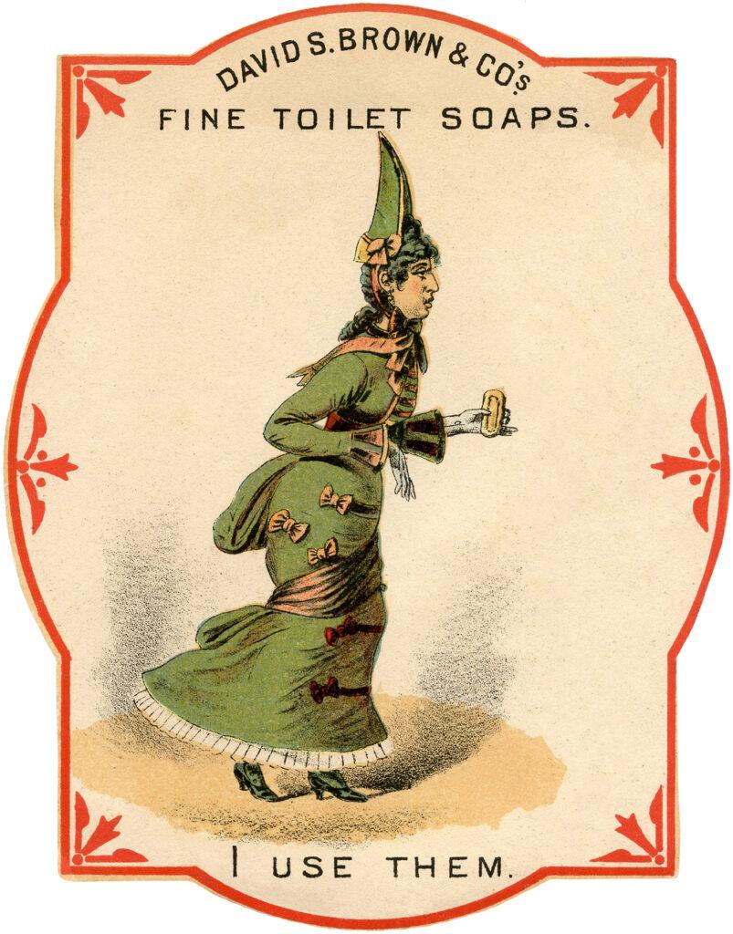 vintage toilet soap ad lady illustration